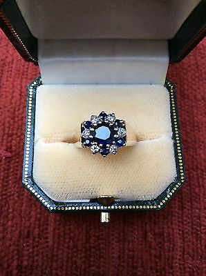 Dazzling 2ct SAPPHIRE AND DIAMOND RING IN 9ct SIZE P