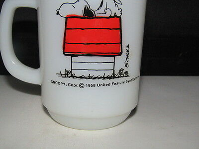 1958 Anchor Hocking Fire King Snoopy Mug Cup I Think I'm Allergic to Mornings