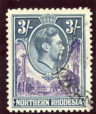 Northern Rhodesia 1938 KGVI 3s violet & blue very fine used. SG 42. Sc 42.