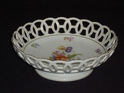 Rosenthal Porcelain Footed Bowl Reticulated Cabinet Display Centerpiece Antique