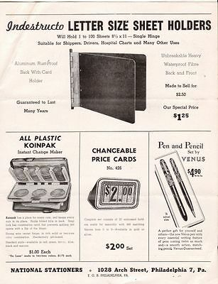 Undated Brochure National Stationers Letter Sheet Holders Steel Chair Table etc