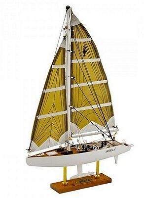 Detailed America3 ( America Cubed ) wooden model racing yacht