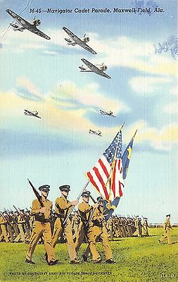 Maxwell Field Alabama~Navigator Cadet Parade~Airplanes in Sky~Military~1940s Pc