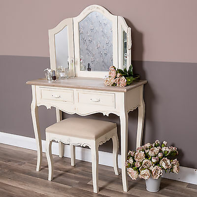 Cream dressing table mirror stool set shabby vintage bedroom furniture chic home