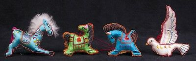 Vtg 70's Chinese Embroidered Fabric Horse Dove Animals Christmas Ornaments