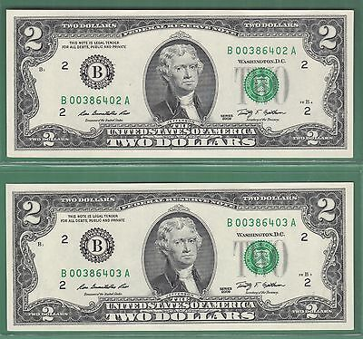 2009 Federal Reserve Note Two Dollar Bills ..$2.00..2 Consecutive Notes...0203