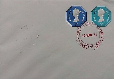 1971 House Of Lords 3P + ½P Machin Imprints Cover With Privileges Committee Mark