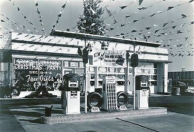 "5x7"" photo PURE GAS SERVICE STATION GRAND CHRISTMAS OPENING PUMPS OIL DISPLAY"