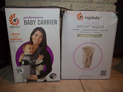 ErgoBaby Performance Baby Carrier and Insert Bundle Natural NIB NEW RTL $165