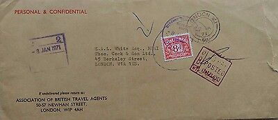 Great Britain 1971 Unpaid London Area Cover With 8 Pence Postage Due Stamp