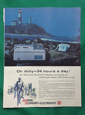 1961 Vintage Magazine Ad ~ General Telephone & Electronics Answering System