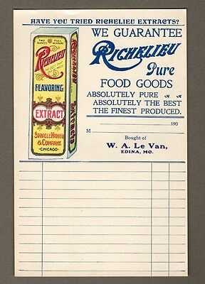 early 1900s Lot Food Grocer Sales Tickets~Richelieu Extract Advertising~Edina MO