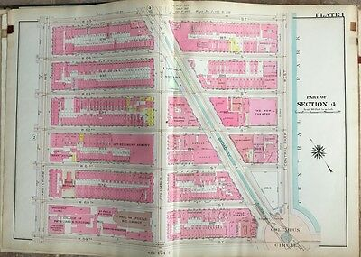 1909 Manhattan Ny Columbus Circle Lincoln Center W59Th To W65Th St Atlas Map