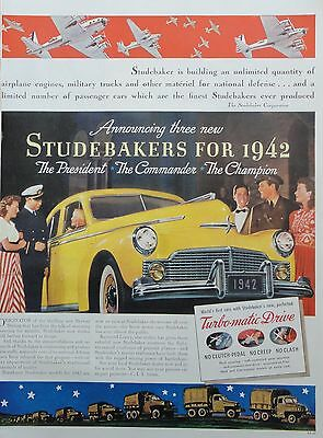 1941 ORIG PRINT AD STUDEBAKERS FOR 1942  The President, the Commander, Champion