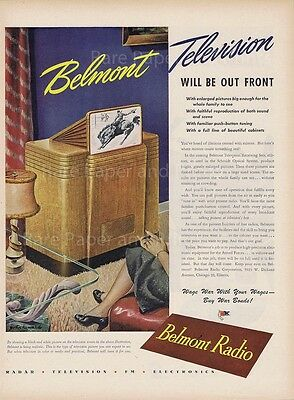 1945 Belmont Television Radio Electronics Early TV Vintage Illustrated Print Ad
