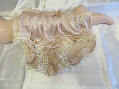 Vtg Sissy Nylon Panties Knickers Soft Caramel & Cream Lace & Satin Bows