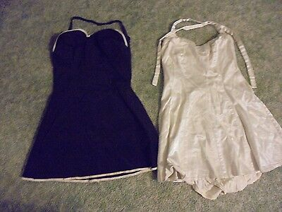 Vintage LOT of 2 BLACK and OFF WHITE Womens Bathing Suit Swimsuit 1940s or 1950s
