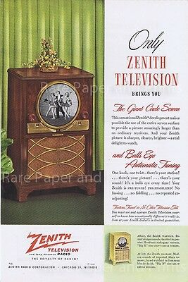 1949 Original Zenith Television Circle Screen TV Vintage 1940s Style Original Ad