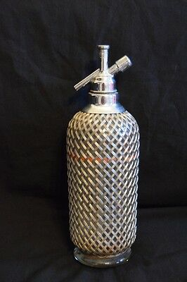 VINTAGE COLLECTABLE Silver Soda Siphon Sparklets Mesh Covering