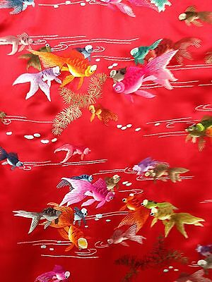 Chinese Hand Hand embroidered Fabric - Fish design - Red Satin