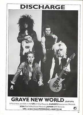 DISCHARGE Grave New World 1986 UK magazine ADVERT/Poster/clipping 11x8 inches