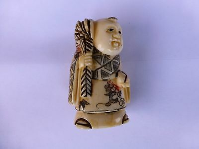 Hand Carved Netsuke, Of A Crab Seller,Signed..
