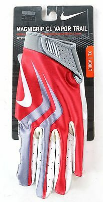 Nike Football Mens Magnigrip CL Vapor Trail Receiver Gloves Red Grey XL