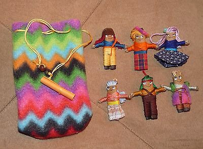 6 x  Large Handmade Worry Dolls With Pouch....,