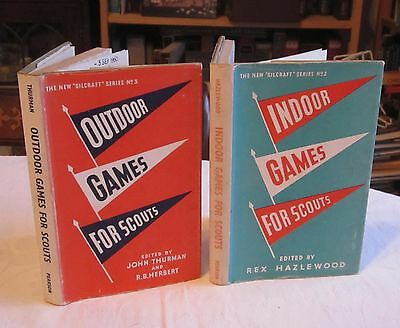Indoor games for Scouts & Outdoor Games (2 hardback books 1950s) Boy Scouts