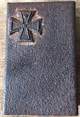 Wwi German 1914 Iron Cross Trench Art Match Holder Haunted Antique