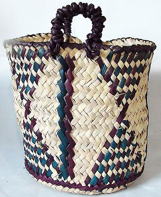 """Africa Handmade Woven Geometric Cylindrical Basket With Handles 8"""" Tall"""