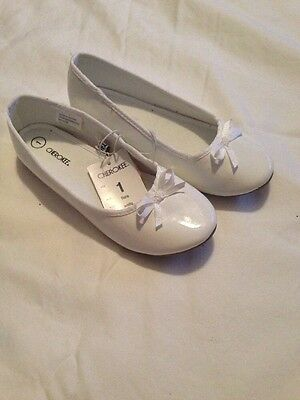 Girls Ballet Flats White Patent Leather Size 1 Cherokee