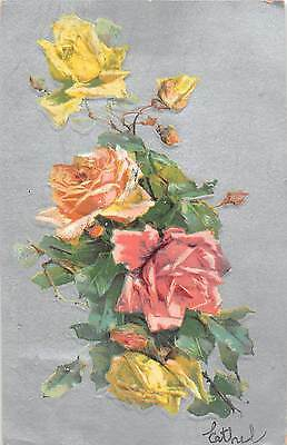 Gorgeous Pink & Yellow Roses on Silver Background-1907 Postcard-Maybe C. Klein?