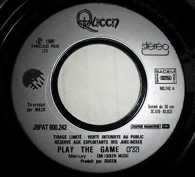 "Queen PLAY THE GAME / ROCK IT (prime jive) on B side FRENCH MEGARARE 7"" PROMO"
