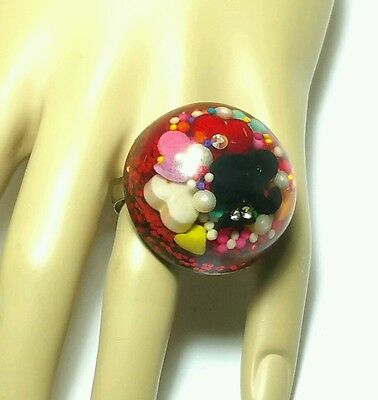Huge Cocktail Vintage Red Lucite Embedded Confetti Glitter Dome Statement Ring