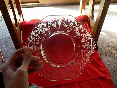Handled Tray Candy Bon bon nuts plate Crystal Glass Rose Point Cambridge antique