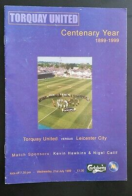 Torquay United v Leicester City Friendly Programme 21/07/99