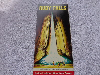 1950s vtg travel flyer brochure Ruby Falls Lookout Mtn Caves Chattanooga TN