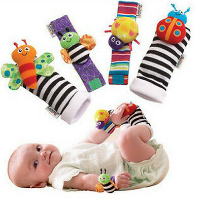 4pcs Baby Toddler Infant Kids Animal Wrist Hand Foot Socks Rattle Soft Plush Toy