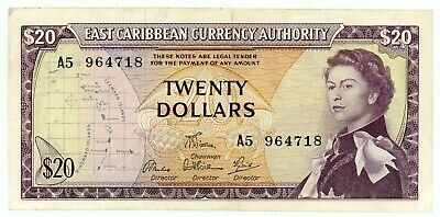East Caribbean States … P-15e … 20 Dollars … ND(1965) … *XF*  Sing: 6.