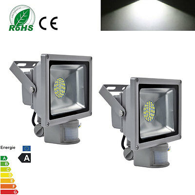 2X 30W LED SMD Outdoor Cool White Floodlight Spotlight With Motion Sensor IP65