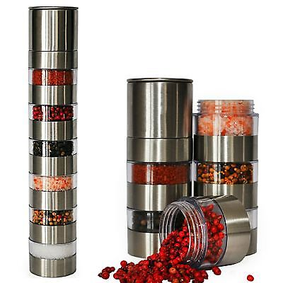 New Deluxe 6 Jar Stainess Steel Salt & Pepper And Spice Grinder Mill Set