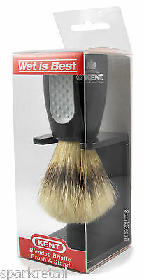 Kent WET IS BEST Black Plastic Blended Bristle Wet SHAVING BRUSH & STAND