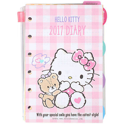 Hello Kitty 2017 Schedule Book Agenda Planner 6-rings refill new NWT weekly
