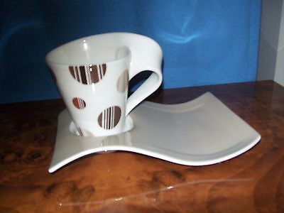 Villeroy & Boch  New Wave Coffee Latte Cup And Tv/ Tennis Saucer Plate