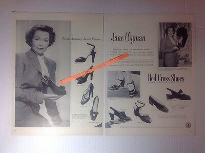 Vintage 1949 JANE WYMAN Red Cross Shoes 2-Page Advertisement