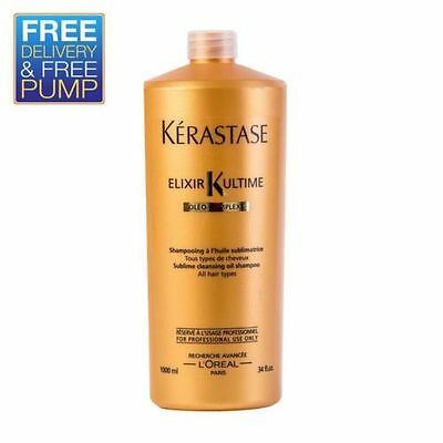 Kerastase Elixir Ultime Shampoo (1000ml) - Come's with Free Pump!