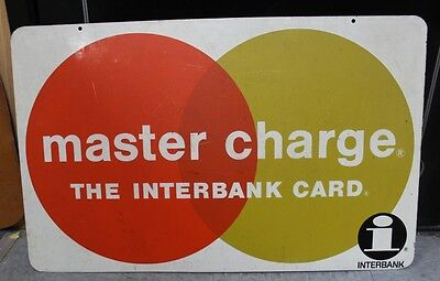 """Vintage 2 Sided Master Charge The Interbank Card Metal Sign 18 X 28"""""""