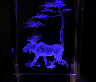 """3"""" 3D LASER CRYSTAL Moose and Tree  with LIGHT BASE"""
