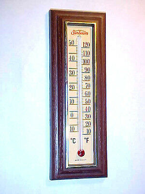 Vintage Sunbeam Advertising Thermometer Faux Wood Finish - Springfield Inst. Co.